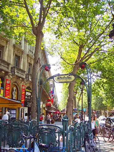 Metro entrance on Boulevard Saint-Michel in Latin Quarter