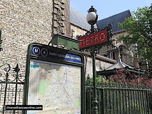 Saint Germain des Pres Metro entrance in Paris