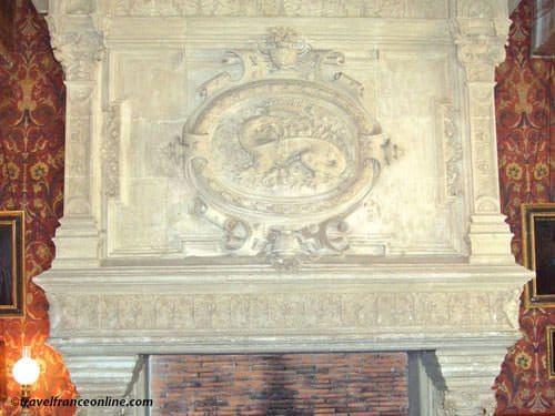 Azay le Rideau Castle - Renaissance fireplace with salamander emblem