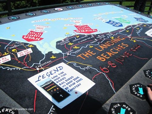 Colleville-sur-mer American Cemetery - Orientation table for Omaha Beach landings