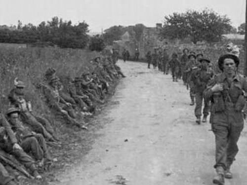 Gold Beach - Troops moving inland on D-Day