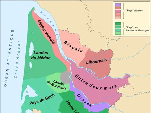 Entre-Deux-Mers wines area map