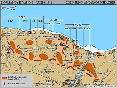 Map of Sword Beach landing sectors