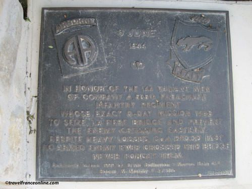 Memorial plate 505th Paratroopers Regiment - La Fiere Memorial Park