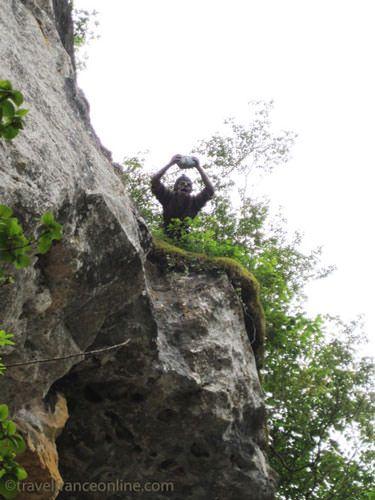 La Roque Saint Christophe - A little bit of humour...Neanderthal guarding the entrance to his home!