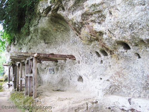 Frame of a troglodyte building, the beams were anchored straight into the rock at La Roque Saint Christophe