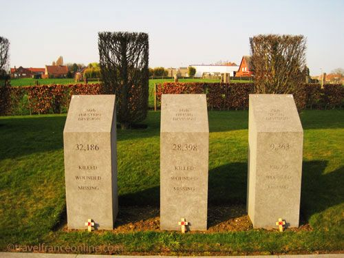 Messines Ridge Island of Ireland Memorial - Wounded, killed or missing from the 37th Ulster, 16th Irish and 10th Irish Divisions