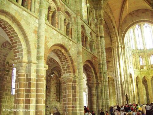 Mont St Michel Romanesque nave and Gothic Flamboyant chancel