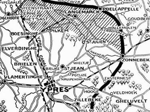 Messines Ridge - Map of Second Battle Ypres 1915