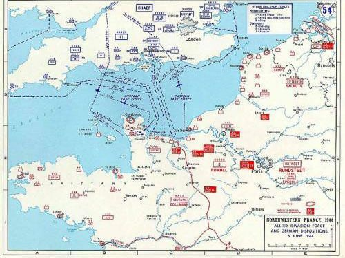 Operation Overlord map - Normandy invasion