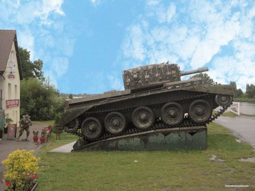 WW2 Tank by Café Gondrée by Pegasus Bridge in Benouville