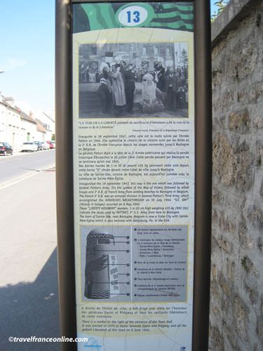 One of the 15 Info boards in Sainte Mere Eglise