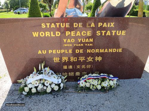 Dedication on World Peace Statue in Grandcamp-Maisy and wreaths laid on June 6, 2019 - 75th anniversary of D-Day