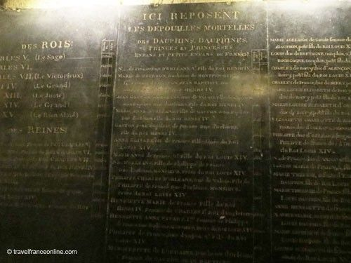 Ossuary - Slab inscribed with the Kings' names - Saint Denis Basilique