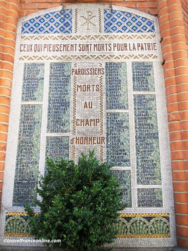 Saint Jean de Montmartre Church - Memorial slab to the Dead of WWI