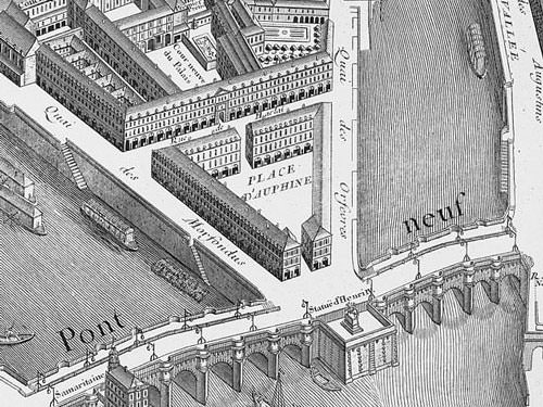 Place Dauphine on Plan de Turgot in 1739