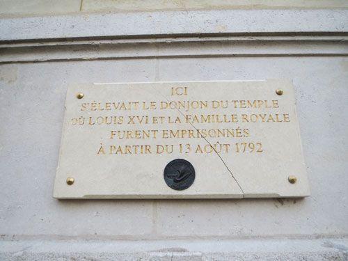 Quartier du Temple - Donjon commemorative slate