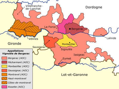 Bergerac wines - AOC map