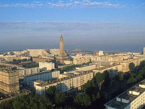 Le Havre listed city centre with S. Joseph Church spire