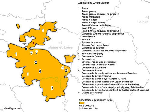 Anjou-Saumur Vineyard map
