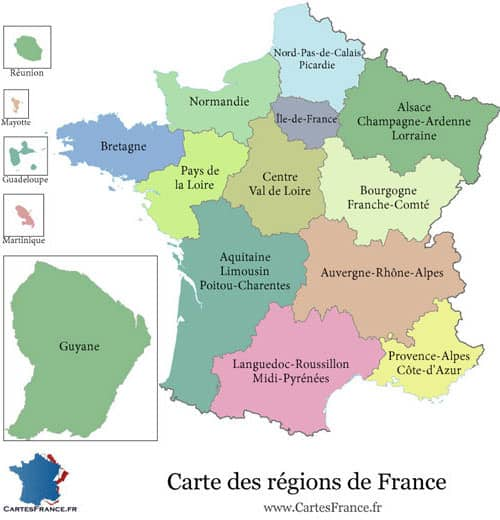 Territorial organization in France - 13 French regions