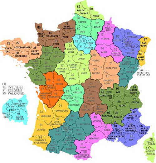 Territorial organization in France - Frenhc departments