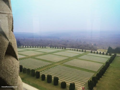 Douaumont Ossuary - Section of the necropolis and battlefield seen from atop the Lantern of the Dead