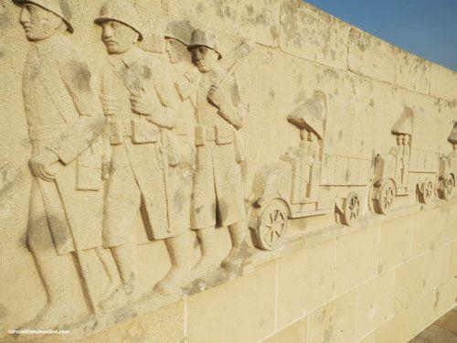 Sacred Way - Voie Sacree Memorial - Frieze depicting troops carried on trucks