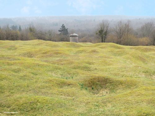 Abri 320 in Verdun - Above the shelter - Ventilation chimney and battlefield kept in its war state