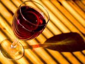Glass of Beaujolais Nouveau