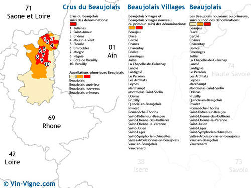 Map Beaujolais Vineyard