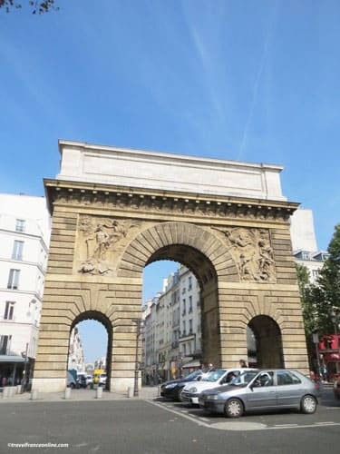 Porte Saint-Martin South facade and Rue Saint-Martin