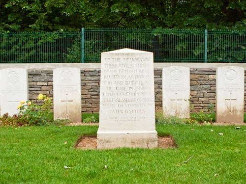 Connaught Cemetery - Memorial to 5 soldiers