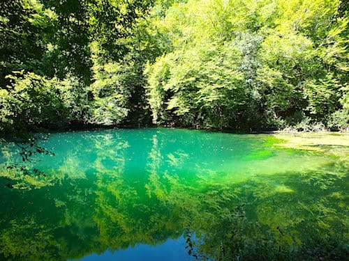 Gouffre de Saint-Sauveur- Emeral waters of the resurgence of the river Ouysse