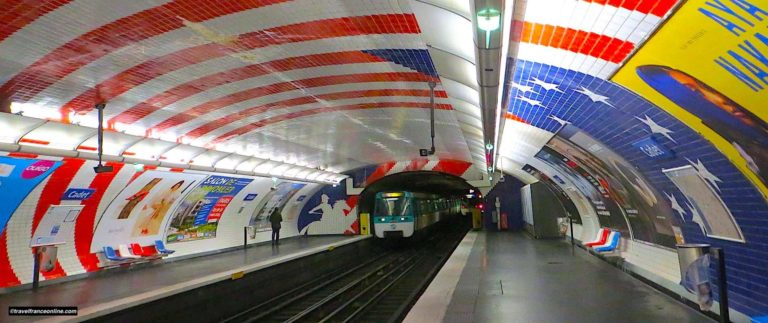 Cadet Metro station's themed decor on Lafayette and the USA