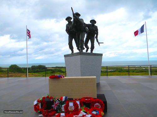 D-Day sculpture in British Normandy Memorial in Ver-sur-mer - Gold Beach War Memorials