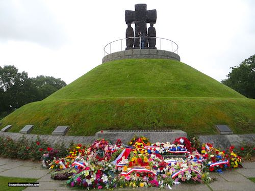 La Cambe German war cemetery - Wreaths laid at the foot of the tumulus for D-Day 75th Anniversary Commemorations