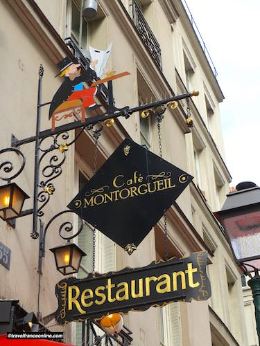 Restaurant sign in Rue Montorgueil