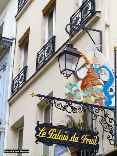 Fruit shop sign in Rue Montorgueil