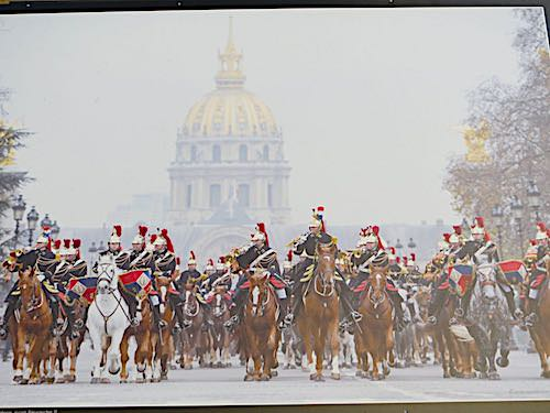 Garde Republicaine parading in front of the Invalides (from a photo)