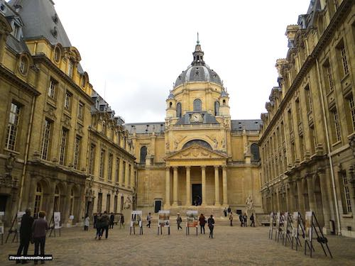 Sorbonne Chapel facade in the college main courtyard