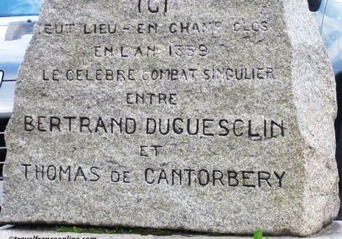 Commemorative slab Bertrand du Guesclin