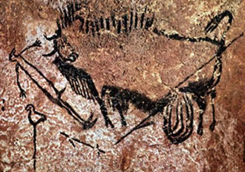 Shaman and wounded bison in Lascaux Cave