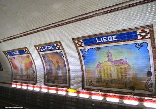 Liege Metro station - Le Perron in Liege, Visé town hall and Verviers town hall