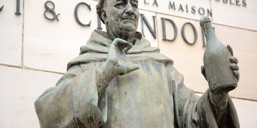 Statue of the monk Dom Perignon at Moet&Chandon