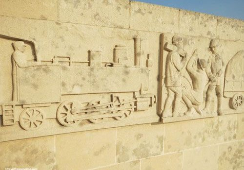 Sacred Way - Voie Sacree Memorial - - Frieze depicting Locomotive and workmen- Fireze depicting Locomotive and workmen