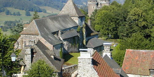 Tournemire castle and church in Cantal